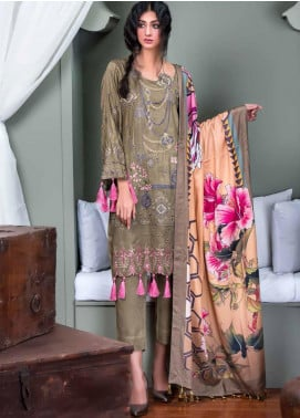 Hoor by Riaz Arts Embroidered Cottel Linen Unstitched 3 Piece Suit RA20CL 35 - Winter Collection
