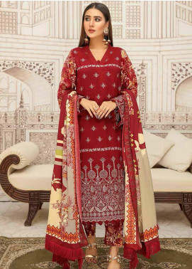 Hoor by Riaz Arts Embroidered Leather Peach Unstitched 3 Piece Suit RA20LP 36 - Winter Collection