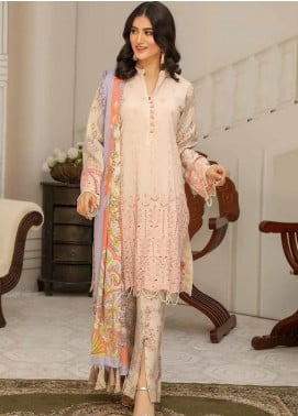 Hoor by Riaz Arts Embroidered Leather Peach Unstitched 3 Piece Suit RA20LP 40 - Winter Collection