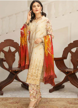 Hoor by Riaz Arts Embroidered Leather Peach Unstitched 3 Piece Suit RA20LP 42 - Winter Collection