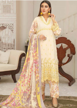 Hoor by Riaz Arts Embroidered Leather Peach Unstitched 3 Piece Suit RA20LP 43 - Winter Collection