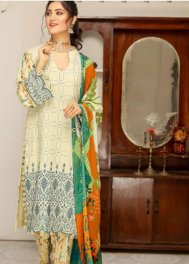 Hoor by Riaz Arts Embroidered Leather Peach Unstitched 3 Piece Suit RA20LP 44 - Winter Collection