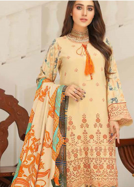Hoor by Riaz Arts Embroidered Leather Peach Unstitched 3 Piece Suit RA20LP 46 - Winter Collection