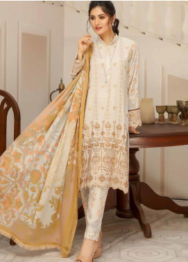 Hoor by Riaz Arts Embroidered Leather Peach Unstitched 3 Piece Suit RA20LP 47 - Winter Collection