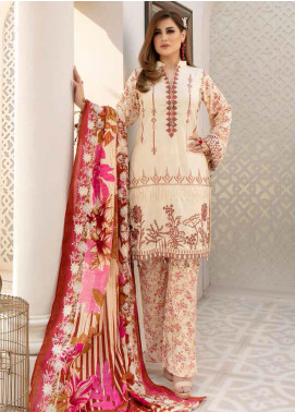 Hoor by Riaz Arts Embroidered Leather Peach Unstitched 3 Piece Suit RA20HL D-17 - Winter Collection
