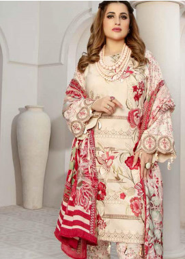 Hoor by Riaz Arts Embroidered Leather Peach Unstitched 3 Piece Suit RA20HL D-22 - Winter Collection