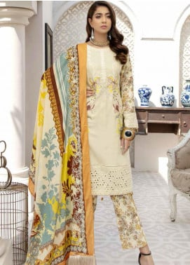 Hoor by Riaz Arts Embroidered Leather Peach Unstitched 3 Piece Suit RA20HL D-24 - Winter Collection