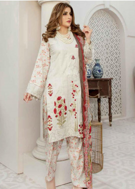 Hoor by Riaz Arts Embroidered Leather Peach Unstitched 3 Piece Suit RA20HL D-25 - Winter Collection