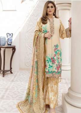 Hoor by Riaz Arts Embroidered Leather Peach Unstitched 3 Piece Suit RA20HL D-26 - Winter Collection