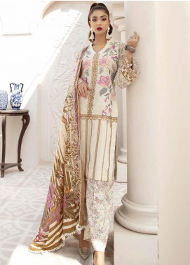 Hoor by Riaz Arts Embroidered Leather Peach Unstitched 3 Piece Suit RA20HL D-27 - Winter Collection