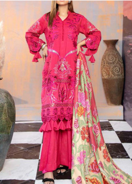 Hoor by Riaz Arts Embroidered Leather Peach Unstitched 3 Piece Suit RA20WSH 02 - Winter Collection