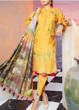 Hoor by Riaz Arts Embroidered Leather Peach Unstitched 3 Piece Suit RA20WSH 04 - Winter Collection