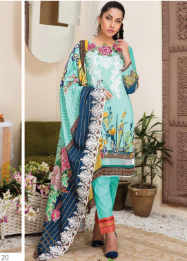 Master Fabrics Embroidered Lawn Unstitched 3 Piece Suit MF20HL 22 - Summer Collection