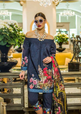 Honey Waqar Embroidered Lawn Unstitched 3 Piece Suit HW18F 10A - Eid Collection