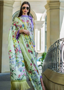 Honey Waqar Embroidered Lawn Unstitched 3 Piece Suit HW18F 3B - Eid Collection