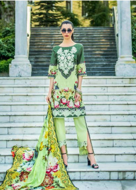 Honey Waqar Embroidered Lawn Unstitched 3 Piece Suit HW18F 4B - Eid Collection