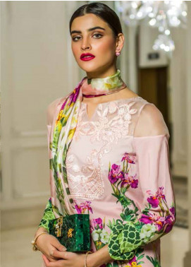 Honey Waqar Embroidered Lawn Unstitched 3 Piece Suit HW18F 5A - Eid Collection