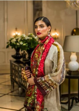Honey Waqar Embroidered Lawn Unstitched 3 Piece Suit HW18F 9B - Eid Collection