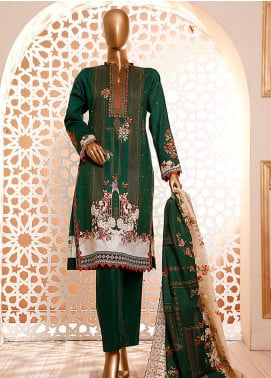 HZ Textiles Embroidered Cambric Unstitched 3 Piece Suit HZ20DC 01 Bottle Green - Winter Collection