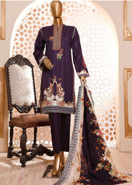 HZ Textiles Embroidered Cambric Unstitched 3 Piece Suit HZ20DC 01 Purple - Winter Collection