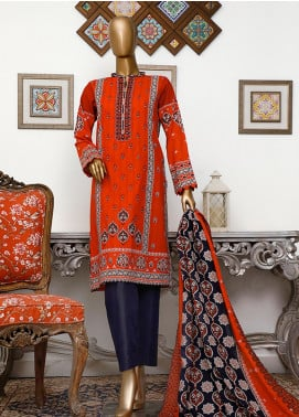 HZ Textiles Embroidered Cambric Unstitched 3 Piece Suit HZ20DC 02 Orange - Winter Collection