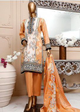 HZ Textiles Embroidered Cambric Unstitched 3 Piece Suit HZ20DC 05 Light Peach - Winter Collection