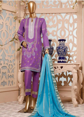 HZ Textiles Embroidered Lawn Unstitched 3 Piece Suit HZ20G D-18C Purple - Spring / Summer Collection