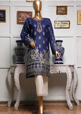 HZ Textiles Printed Jacquard Unstitched Kurties HZ20K 01-Navy Blue - Spring / Summer Collection