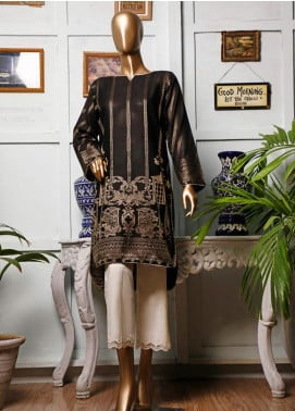 HZ Textiles Printed Jacquard Unstitched Kurties HZ20K 04-Black - Spring / Summer Collection