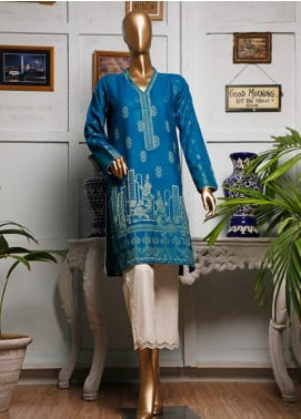 HZ Textiles Printed Jacquard Unstitched Kurties HZ20K 06-Turquoise - Spring / Summer Collection