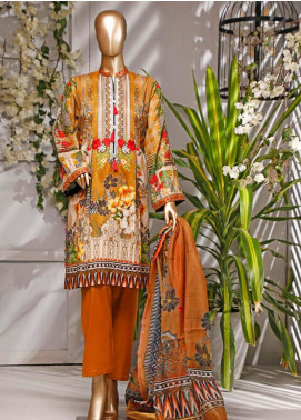 HZ Textiles Embroidered Lawn Unstitched 3 Piece Suit HZ20P 2 Brown - Spring / Summer Collection