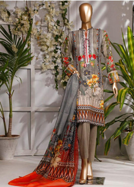 HZ Textiles Embroidered Lawn Unstitched 3 Piece Suit HZ20P 2 Grey - Spring / Summer Collection