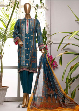 HZ Textiles Embroidered Lawn Unstitched 3 Piece Suit HZ20P 4 Ink Blue - Spring / Summer Collection