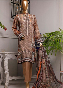 HZ Textiles Embroidered Lawn Unstitched 3 Piece Suit HZ20P 5 Brown - Spring / Summer Collection