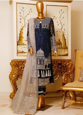 HZ Textiles Embroidered Chiffon Unstitched 3 Piece Suit HZ19C 03 - Luxury Collection