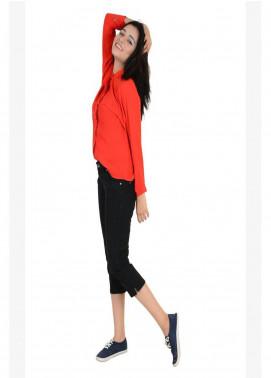 Ignite Wardrobe Stretchable Three-Quarter Cotton Capri Pants IG20CPW 001