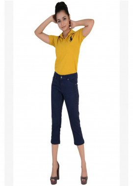 Ignite Wardrobe Stretchable Three-Quarter Cotton Capri Pants IG20CPW 002