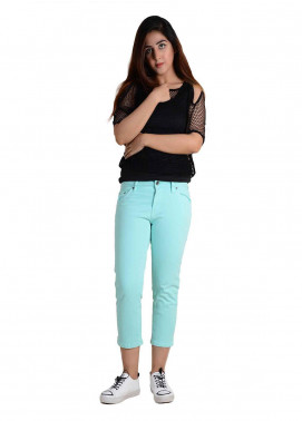 Ignite Wardrobe Stretchable Three-Quarter Cotton Capri Pants IG20CPW 003