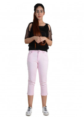 Ignite Wardrobe Stretchable Three-Quarter Cotton Capri Pants IG20CPW 004