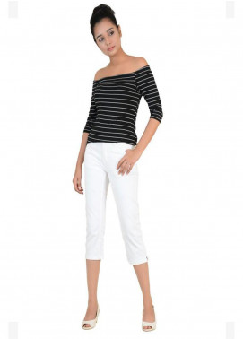 Ignite Wardrobe Stretchable Three-Quarter Cotton Capri Pants IG20CPW 005