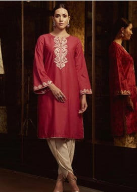 Image Embroidered Cotton Stitched Kurtis  P 850 RASBERRY