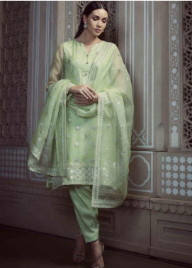 Image Embroidered Organza Stitched 3 Piece Suit P 852 SAGE
