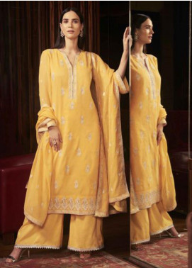Image Embroidered Cotton Unstitched 3 Piece Suit US-10 MILANI YELLOW - Festive Collection