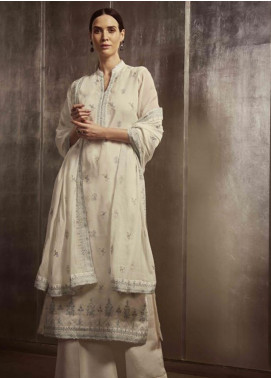Image Embroidered Cotton Unstitched 3 Piece Suit US-8 ANTIQUE WHITE - Festive Collection