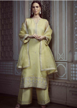Image Embroidered Organza Unstitched 3 Piece Suit US-9 CANARY - Festive Collection