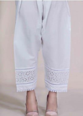 Image Cotton Stitched Pants Embellished with Lace  T-275