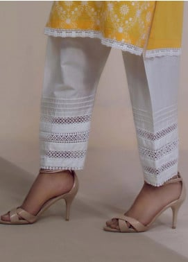 Image Cotton Stitched Shalwar Embellished with Lace  T-277
