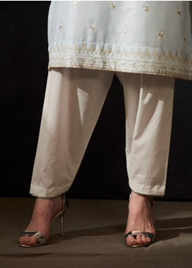Image Cotton Stitched Shalwar Embellished With Gota Finishing T-278 Silver Champagne