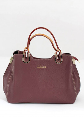 Sanaulla Exclusive Range PU Leather Satchels Handbags for Women - Maroon with Plain Texture