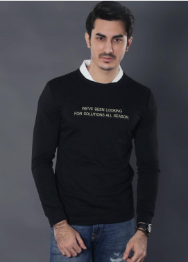 Sanaulla Exclusive Range Jersey Casual Full Sleeves for Men -  19-9124 Black